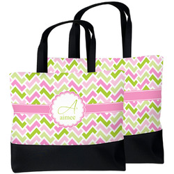 Pink & Green Geometric Beach Tote Bag (Personalized)
