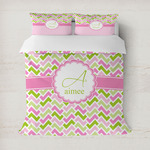 Pink & Green Geometric Duvet Cover (Personalized)