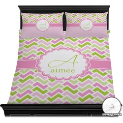 Pink & Green Geometric Duvet Cover Set (Personalized)