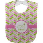 Pink & Green Geometric Baby Bib (Personalized)