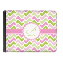 Pink & Green Geometric Genuine Leather Men's Bi-fold Wallet (Personalized)
