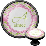 Pink & Green Geometric Cabinet Knob (Black) (Personalized)