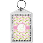 Pink & Green Geometric Bling Keychain (Personalized)