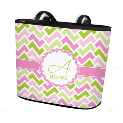 Pink & Green Geometric Bucket Tote w/ Genuine Leather Trim (Personalized)