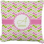 Pink & Green Geometric Faux-Linen Throw Pillow (Personalized)