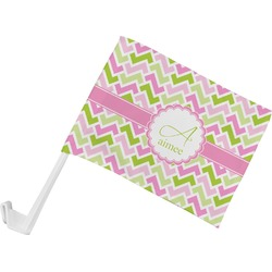 Pink & Green Geometric Car Flag (Personalized)