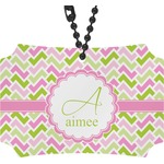 Pink & Green Geometric Rear View Mirror Ornament (Personalized)