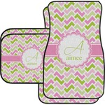 Pink & Green Geometric Car Floor Mats Set - 2 Front & 2 Back (Personalized)