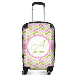 Pink & Green Geometric Suitcase (Personalized)