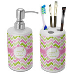 Pink & Green Geometric Bathroom Accessories Set (Ceramic) (Personalized)