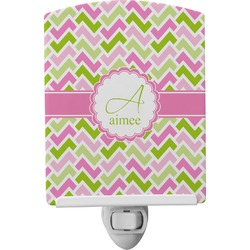 Pink & Green Geometric Ceramic Night Light (Personalized)