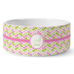 Pink & Green Geometric Ceramic Pet Bowl (Personalized)