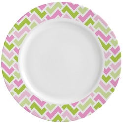 Pink & Green Geometric Ceramic Dinner Plates (Set of 4) (Personalized)