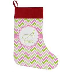 Pink & Green Geometric Holiday Stocking w/ Name and Initial