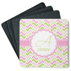 Pink & Green Geometric 4 Square Coasters - Rubber Backed (Personalized)