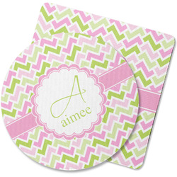 Pink & Green Geometric Rubber Backed Coaster (Personalized)