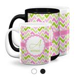 Pink & Green Geometric Coffee Mugs (Personalized)
