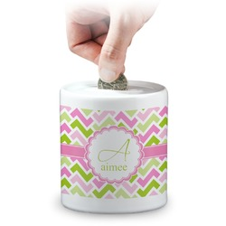 Pink & Green Geometric Coin Bank (Personalized)