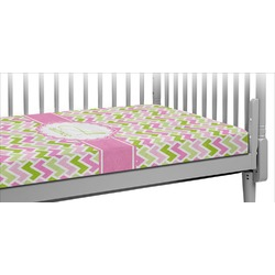 Pink & Green Geometric Crib Fitted Sheet (Personalized)