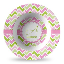 Pink & Green Geometric Plastic Bowl - Microwave Safe - Composite Polymer (Personalized)