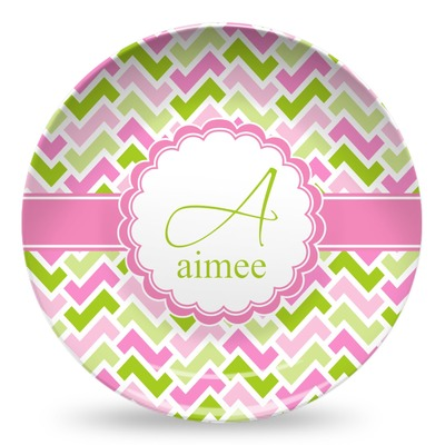 Pink & Green Geometric Microwave Safe Plastic Plate - Composite Polymer (Personalized)