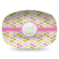 Pink & Green Geometric Plastic Platter - Microwave & Oven Safe Composite Polymer (Personalized)