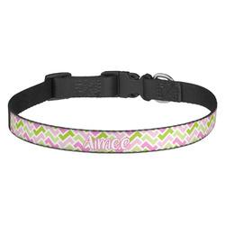 Pink & Green Geometric Dog Collar (Personalized)