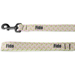 Pink & Green Geometric Deluxe Dog Leash (Personalized)