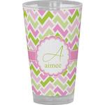 Pink & Green Geometric Drinking / Pint Glass (Personalized)