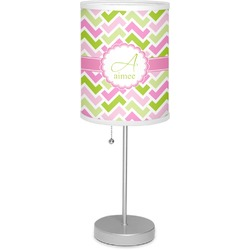 """Pink & Green Geometric 7"""" Drum Lamp with Shade Polyester (Personalized)"""