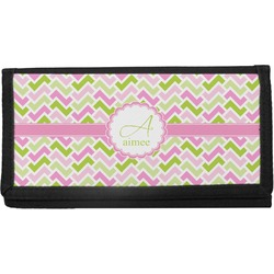 Pink & Green Geometric Canvas Checkbook Cover (Personalized)