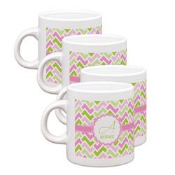 Pink & Green Geometric Espresso Mugs - Set of 4 (Personalized)