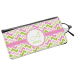 Pink & Green Geometric Genuine Leather Eyeglass Case (Personalized)