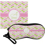 Pink & Green Geometric Eyeglass Case & Cloth (Personalized)