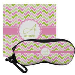 Pink & Green Geometric Eyeglass Case & Cloth (Personalized)