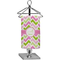 Pink & Green Geometric Finger Tip Towel - Full Print (Personalized)