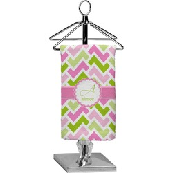 Pink & Green Geometric Finger Tip Towel - Full Print (Personalized)
