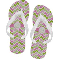 Pink & Green Geometric Flip Flops - XSmall (Personalized)