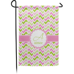 Pink & Green Geometric Garden Flag (Personalized)