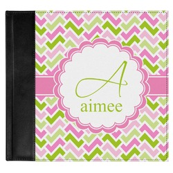 Pink & Green Geometric Genuine Leather Baby Memory Book (Personalized)