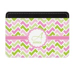 Pink & Green Geometric Genuine Leather Front Pocket Wallet (Personalized)