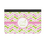 Pink & Green Geometric Genuine Leather ID & Card Wallet - Slim Style (Personalized)