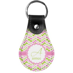 Pink & Green Geometric Genuine Leather  Keychain (Personalized)