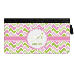 Pink & Green Geometric Genuine Leather Ladies Zippered Wallet (Personalized)