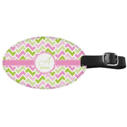 Pink & Green Geometric Genuine Leather Oval Luggage Tag (Personalized)