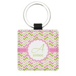 Pink & Green Geometric Genuine Leather Rectangular Keychain (Personalized)