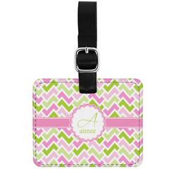 Pink & Green Geometric Genuine Leather Rectangular  Luggage Tag (Personalized)