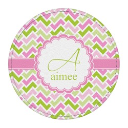 Pink & Green Geometric Round Desk Weight - Genuine Leather  (Personalized)