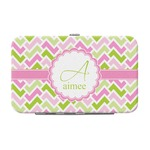 Pink & Green Geometric Genuine Leather Small Framed Wallet (Personalized)