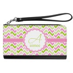 Pink & Green Geometric Genuine Leather Smartphone Wrist Wallet (Personalized)
